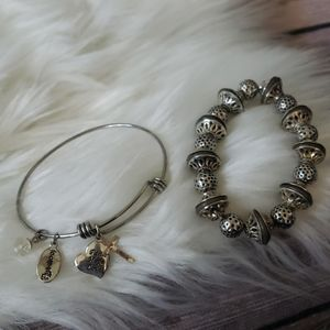 Jewelry - Set of 2 silver tone bracelets with charms